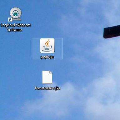 pepk.jarファイルと、Keystoreファイル(TomatoJuice.jks)をデスクトップにおいたところ。