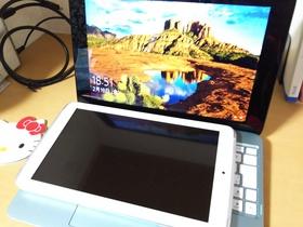KENANのKBM-89-W、Windows 10タブレットとASUS TransBook T100HAの大きさ比較