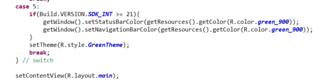 Javaコード内でsetStatusBarColorとsetNavigationBarColorにてカラー変更